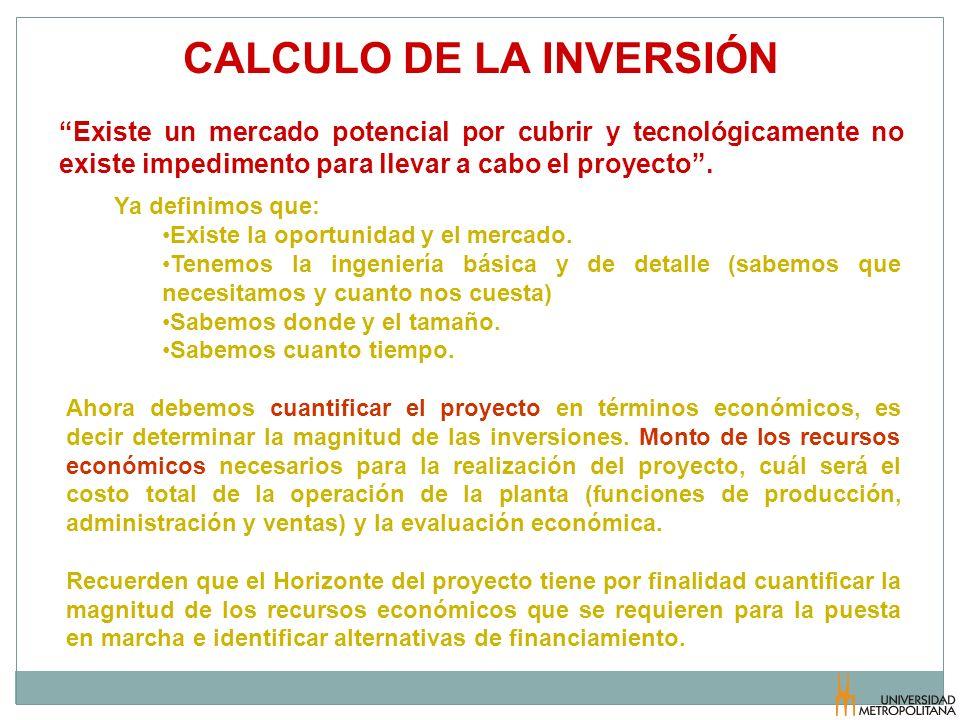 CALCULO DE LA INVERSIÓN Existe un mercado potencial por cubrir y tecnológicamente no existe impedimento para llevar a cabo el proyecto. Ya definimos q