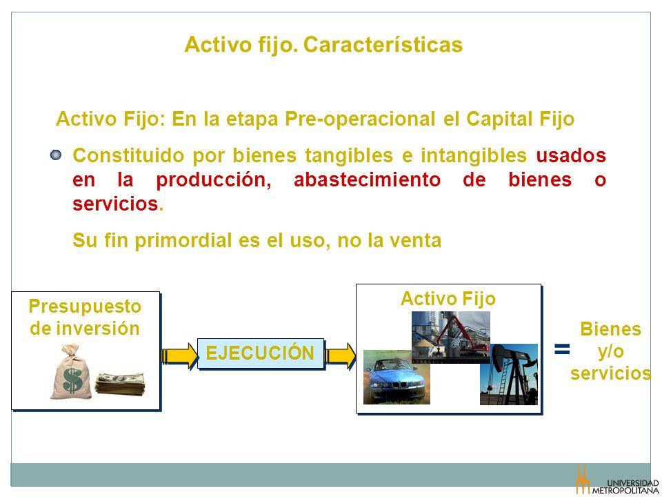 Activo fijo. Características EJECUCIÓN Activo Fijo: En la etapa Pre-operacional el Capital Fijo Constituido por bienes tangibles e intangibles usados