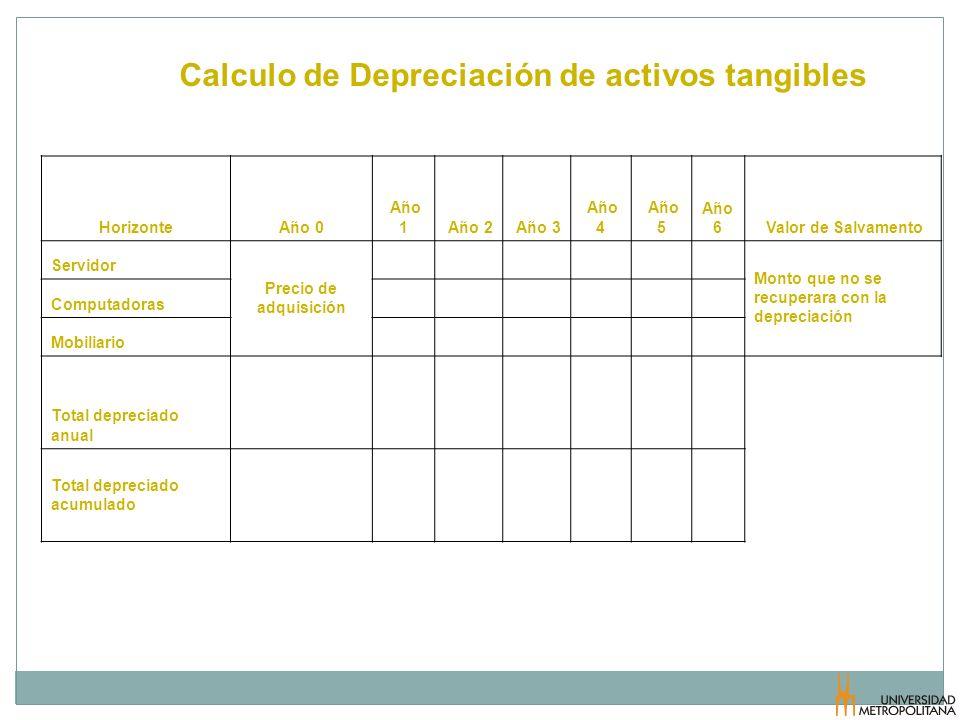 Calculo de Depreciación de activos tangibles Estimación de la Inversión Capítulo VI HorizonteAño 0 Año 1 Año 2 Año 3 Año 4 Año 5 Año 6 Valor de Salvam