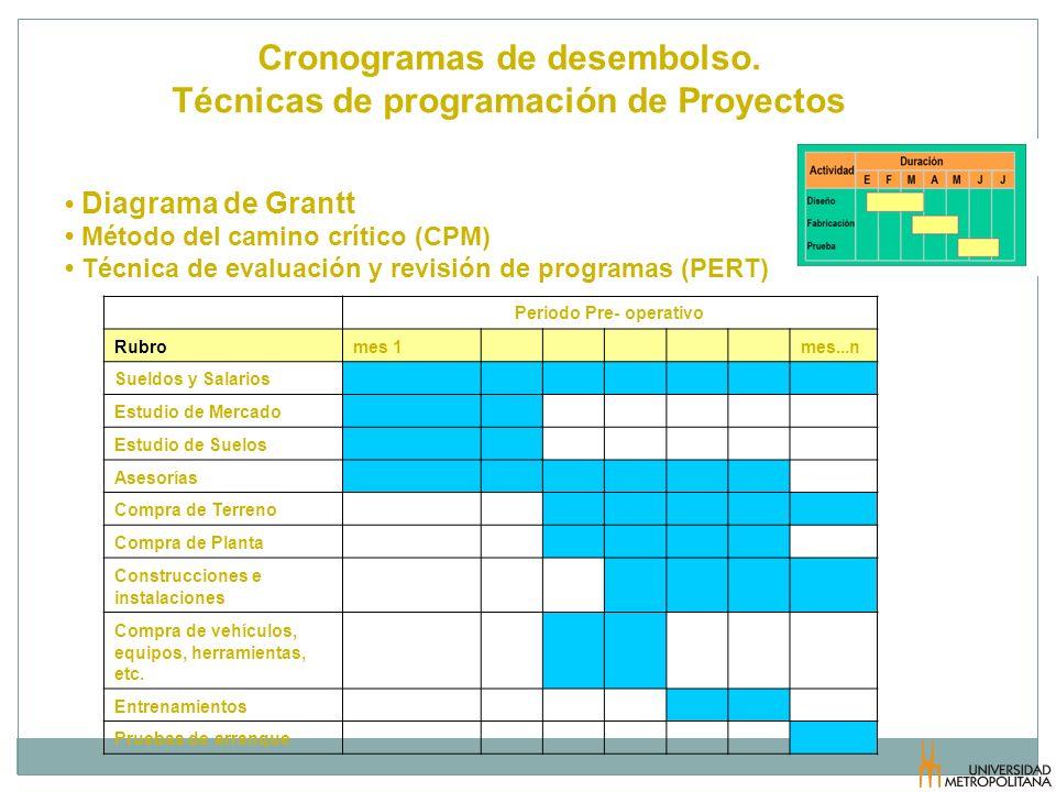 Cronogramas de desembolso. Técnicas de programación de Proyectos Periodo Pre- operativo Rubromes 1 mes...n Sueldos y Salarios Estudio de Mercado Estud