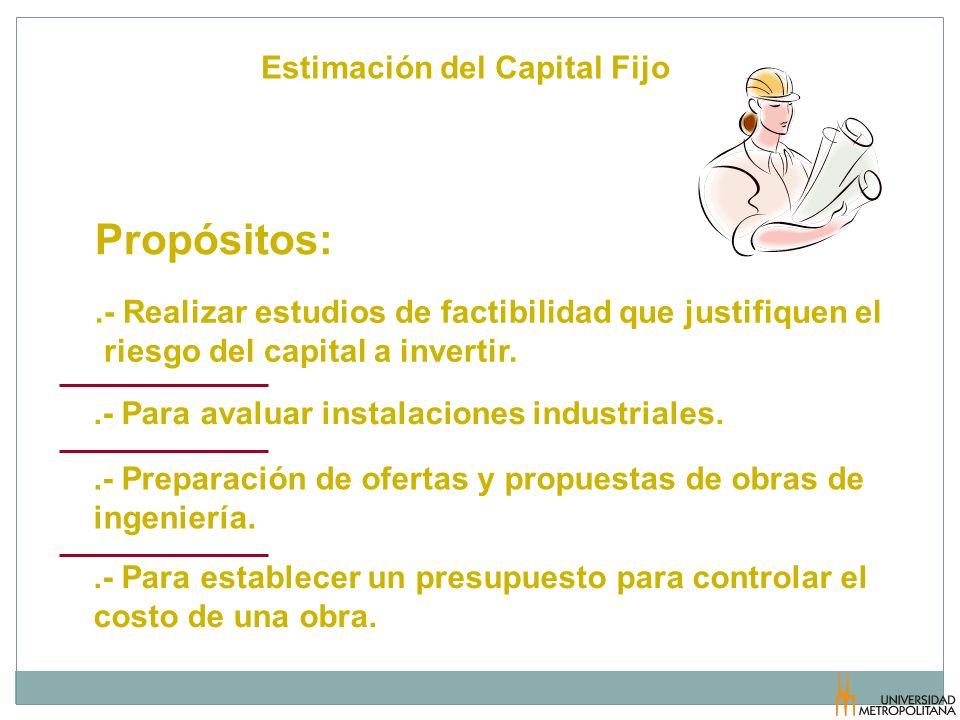 Estimación del Capital Fijo Propósitos:.- Realizar estudios de factibilidad que justifiquen el riesgo del capital a invertir..- Para establecer un pre