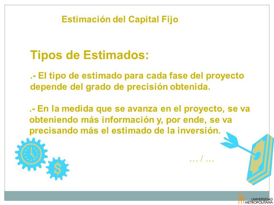 Estimación del Capital Fijo Tipos de Estimados:.- El tipo de estimado para cada fase del proyecto depende del grado de precisión obtenida..- En la med