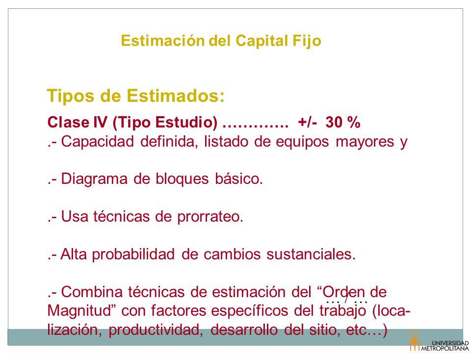 Estimación del Capital Fijo Tipos de Estimados: … / … Clase IV (Tipo Estudio) …………. +/- 30 %.- Capacidad definida, listado de equipos mayores y.- Diag