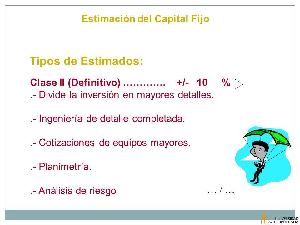 Estimación del Capital Fijo Tipos de Estimados: … / … Clase II (Definitivo) …………. +/- 10 %.- Divide la inversión en mayores detalles..- Ingeniería de