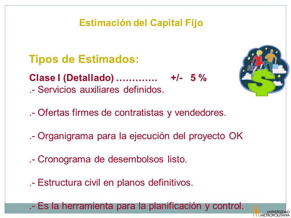 Estimación del Capital Fijo Tipos de Estimados: Clase I (Detallado) …………. +/- 5 %.- Servicios auxiliares definidos..- Ofertas firmes de contratistas y