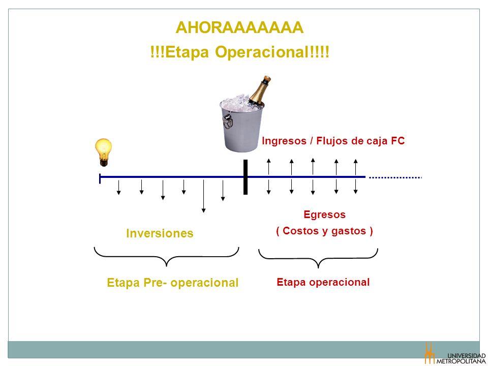AHORAAAAAAA !!!Etapa Operacional!!!! Ingresos / Flujos de caja FC Egresos ( Costos y gastos ) Inversiones Etapa operacional Etapa Pre- operacional