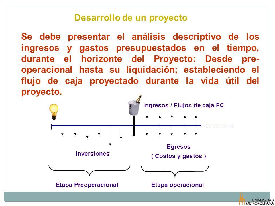 Desarrollo de un proyecto Ingresos / Flujos de caja FC Egresos ( Costos y gastos ) Inversiones Etapa operacionalEtapa Preoperacional Se debe presentar