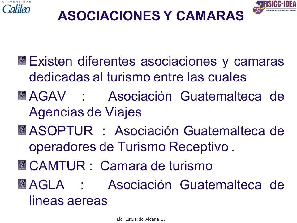 ASOCIACIONES Y CAMARAS Existen diferentes asociaciones y camaras dedicadas al turismo entre las cuales AGAV : Asociación Guatemalteca de Agencias de V