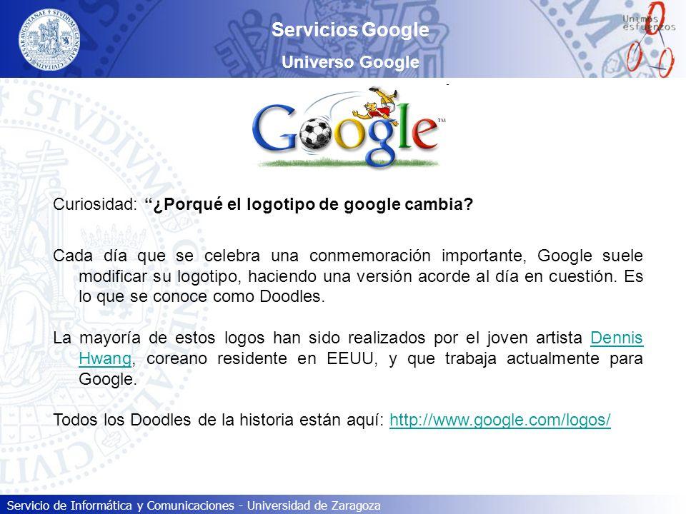 Servicio de Informática y Comunicaciones - Universidad de Zaragoza Servicios Google Universo Google Curiosidad: ¿Porqué el logotipo de google cambia?