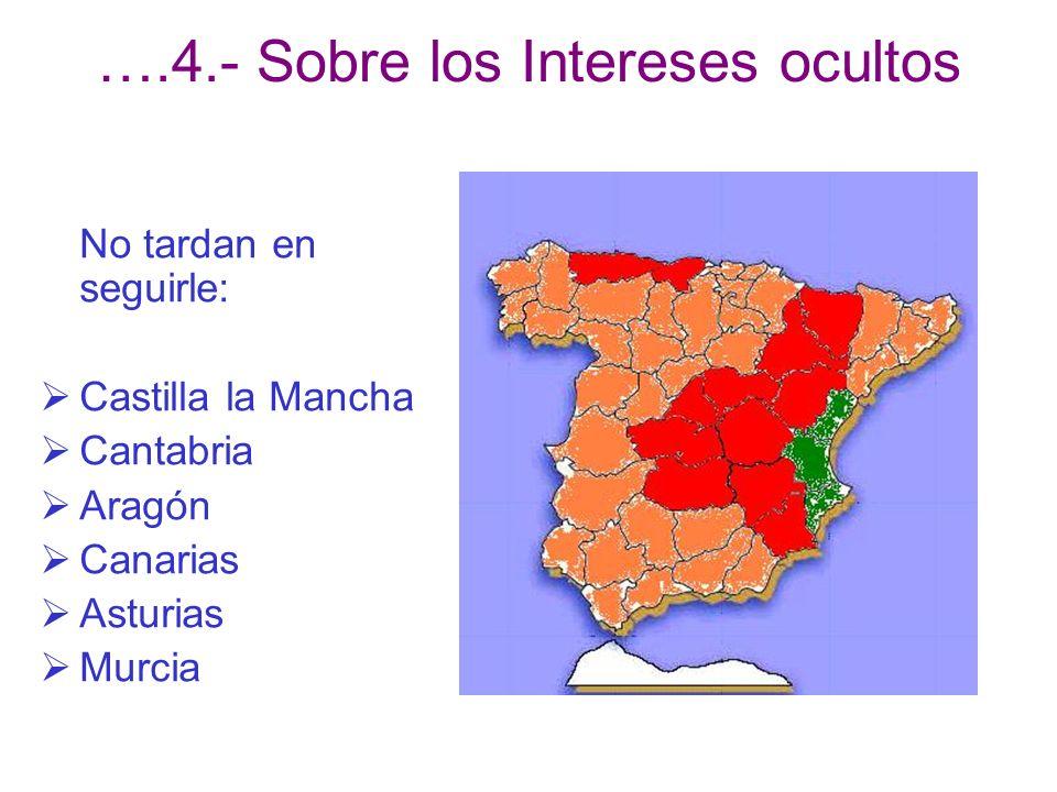 ….4.- Sobre los Intereses ocultos No tardan en seguirle: Castilla la Mancha Cantabria Aragón Canarias Asturias Murcia