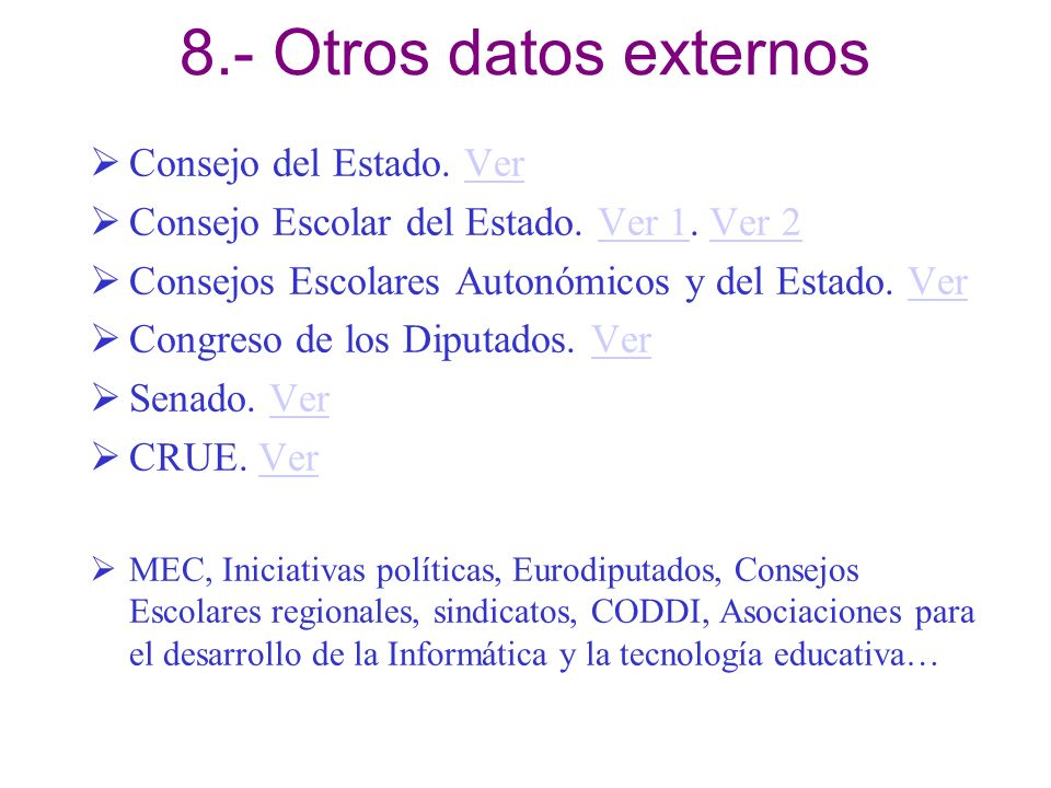 8.- Otros datos externos Consejo del Estado. VerVer Consejo Escolar del Estado. Ver 1. Ver 2Ver 1Ver 2 Consejos Escolares Autonómicos y del Estado. Ve