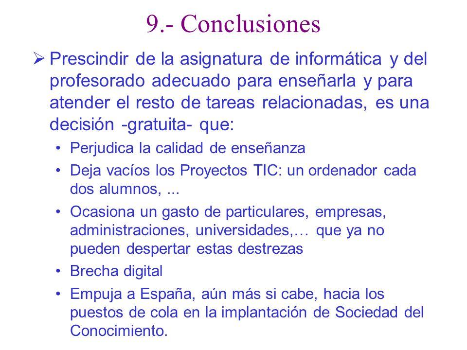 9.- Conclusiones Prescindir de la asignatura de informática y del profesorado adecuado para enseñarla y para atender el resto de tareas relacionadas,
