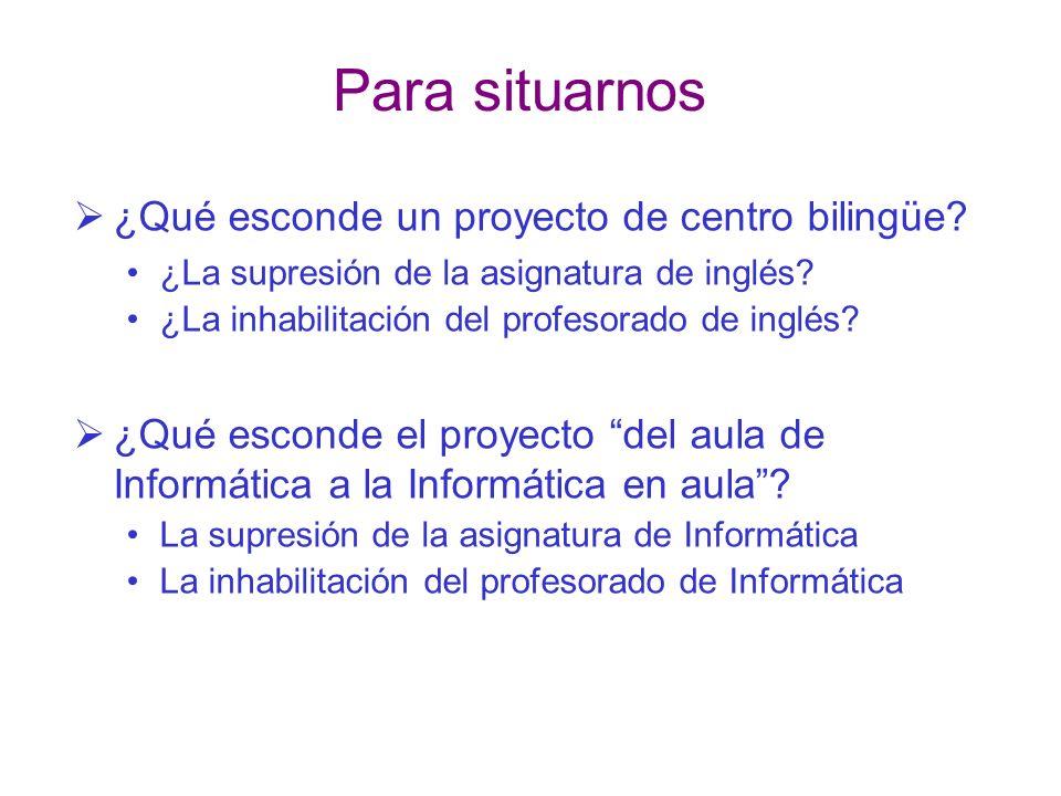 Para situarnos ¿Qué esconde un proyecto de centro bilingüe? ¿La supresión de la asignatura de inglés? ¿La inhabilitación del profesorado de inglés? ¿Q