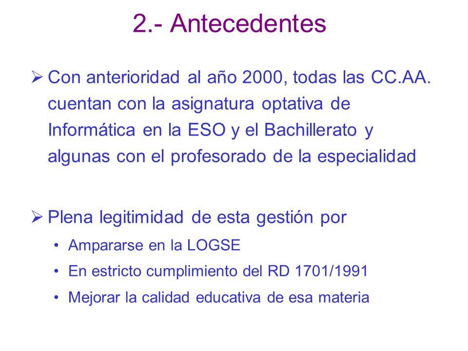 2.- Antecedentes Con anterioridad al año 2000, todas las CC.AA. cuentan con la asignatura optativa de Informática en la ESO y el Bachillerato y alguna