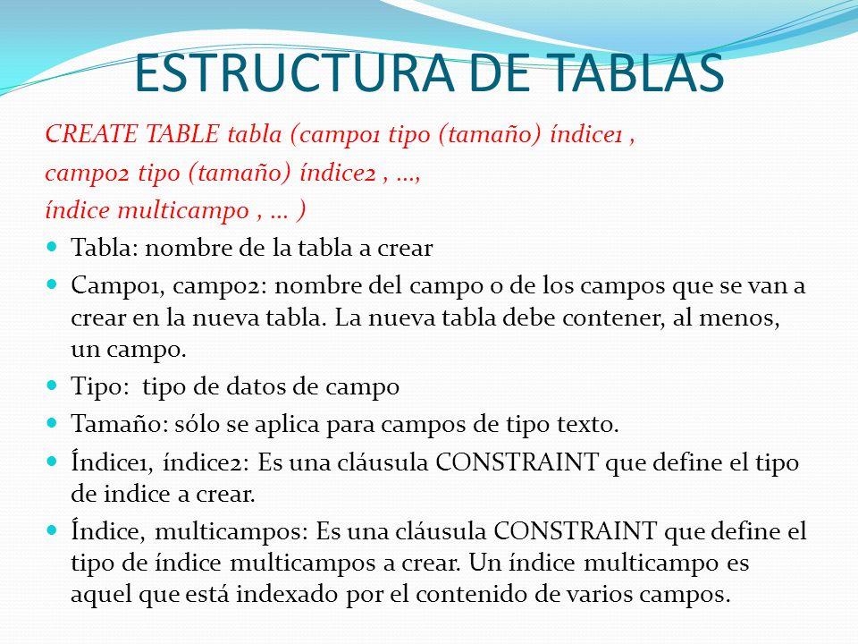 ESTRUCTURA DE TABLAS CREATE TABLE tabla (campo1 tipo (tamaño) índice1, campo2 tipo (tamaño) índice2,..., índice multicampo,... ) Tabla: nombre de la t