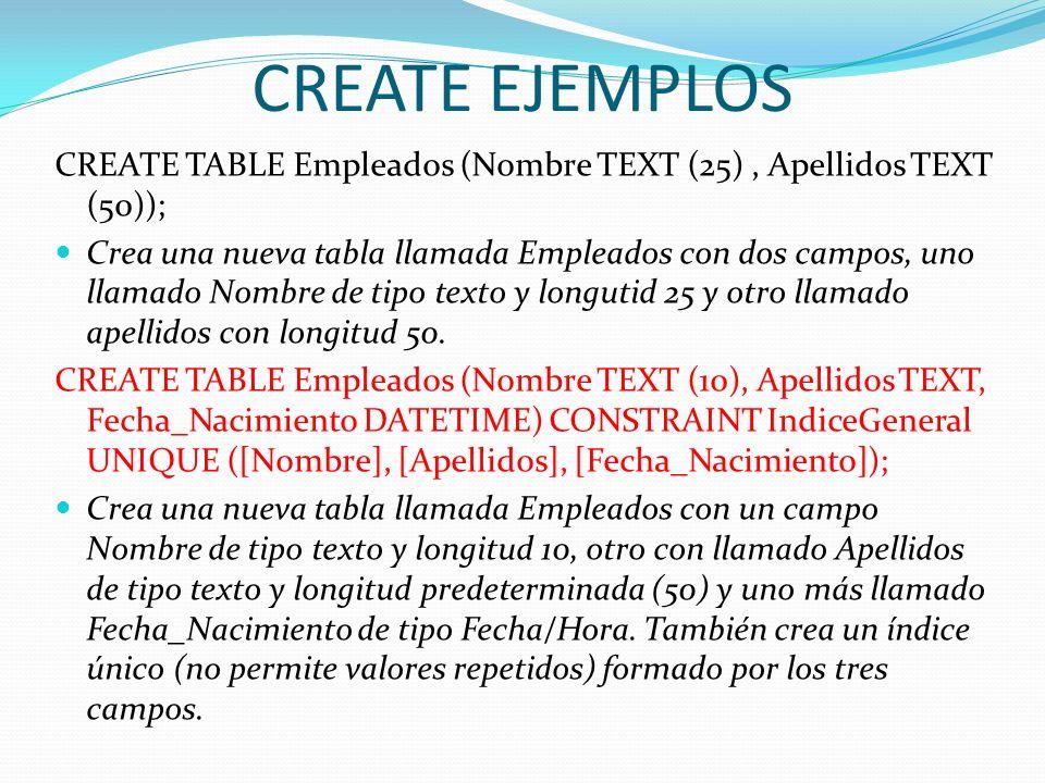 CREATE EJEMPLOS CREATE TABLE Empleados (Nombre TEXT (25), Apellidos TEXT (50)); Crea una nueva tabla llamada Empleados con dos campos, uno llamado Nom