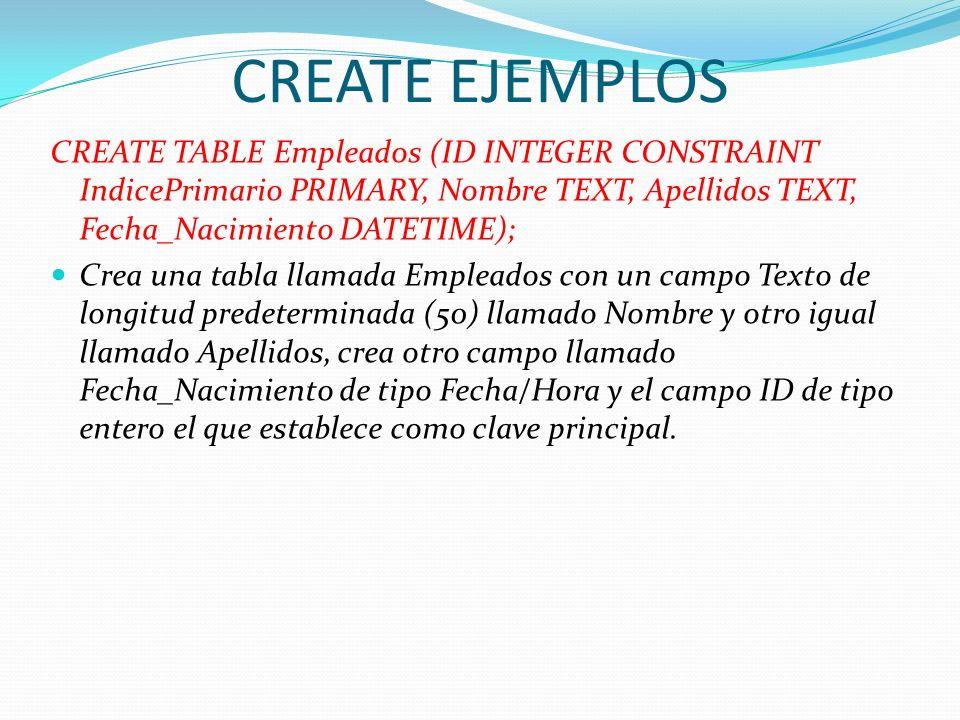 CREATE EJEMPLOS CREATE TABLE Empleados (ID INTEGER CONSTRAINT IndicePrimario PRIMARY, Nombre TEXT, Apellidos TEXT, Fecha_Nacimiento DATETIME); Crea un