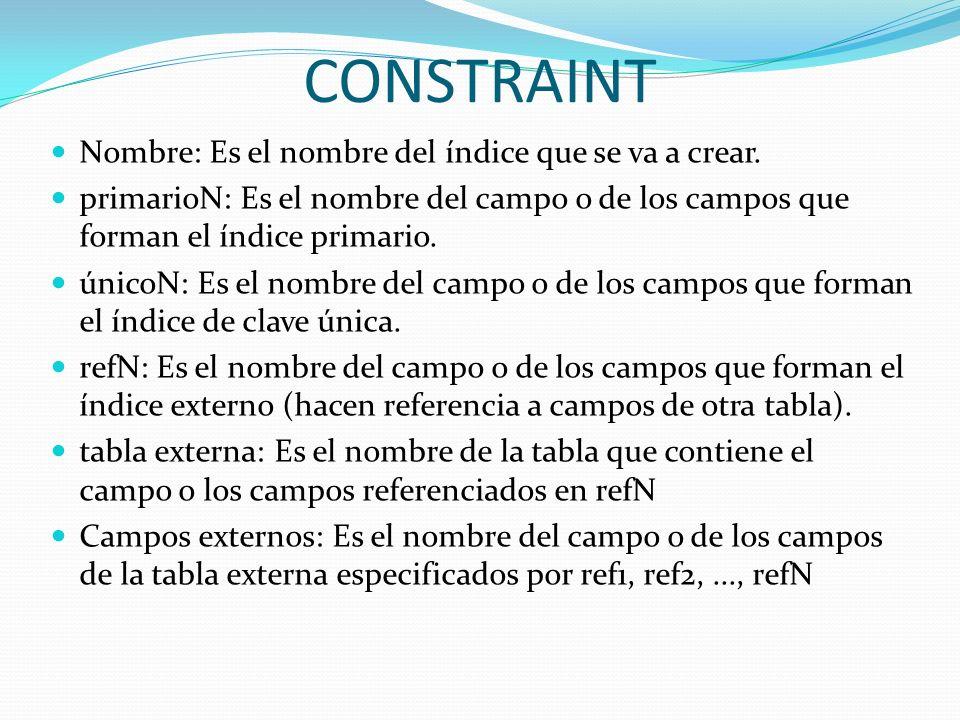 CONSTRAINT Nombre: Es el nombre del índice que se va a crear. primarioN: Es el nombre del campo o de los campos que forman el índice primario. únicoN: