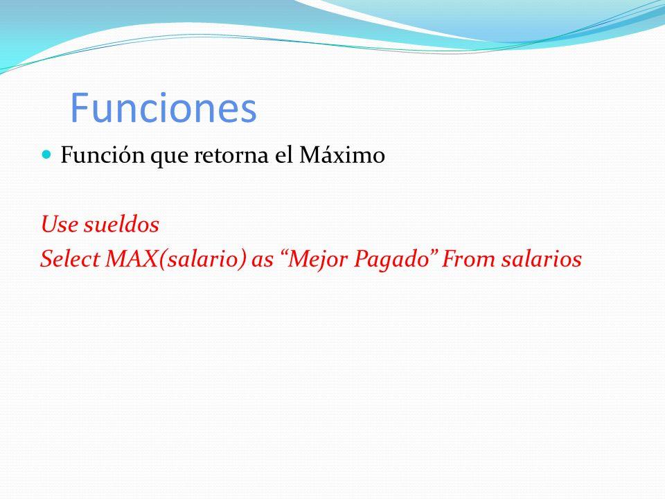 Funciones Función que retorna el Máximo Use sueldos Select MAX(salario) as Mejor Pagado From salarios