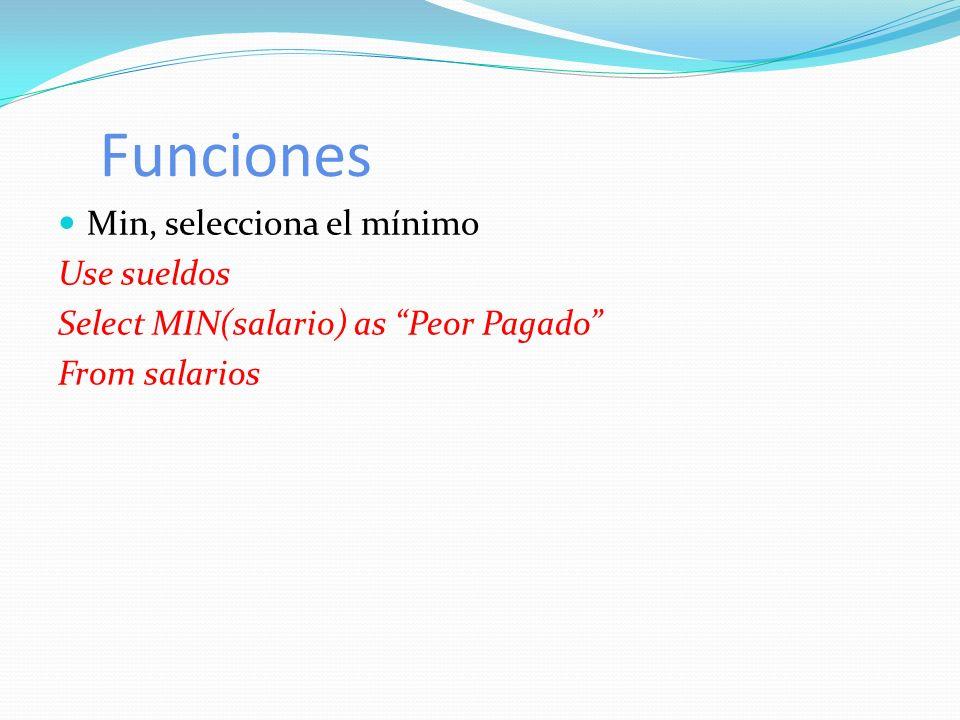 Funciones Min, selecciona el mínimo Use sueldos Select MIN(salario) as Peor Pagado From salarios