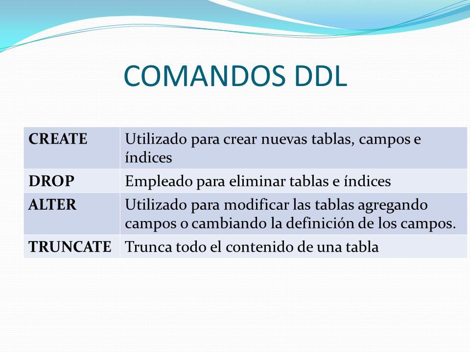 COMANDOS DDL CREATEUtilizado para crear nuevas tablas, campos e índices DROPEmpleado para eliminar tablas e índices ALTERUtilizado para modificar las