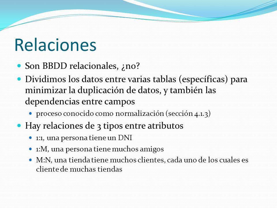 Relaciones Son BBDD relacionales, ¿no? Dividimos los datos entre varias tablas (específicas) para minimizar la duplicación de datos, y también las dep