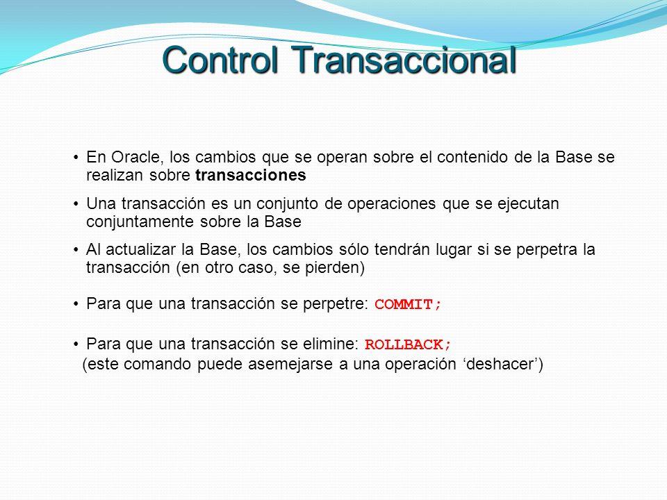 En Oracle, los cambios que se operan sobre el contenido de la Base se realizan sobre transacciones Una transacción es un conjunto de operaciones que s