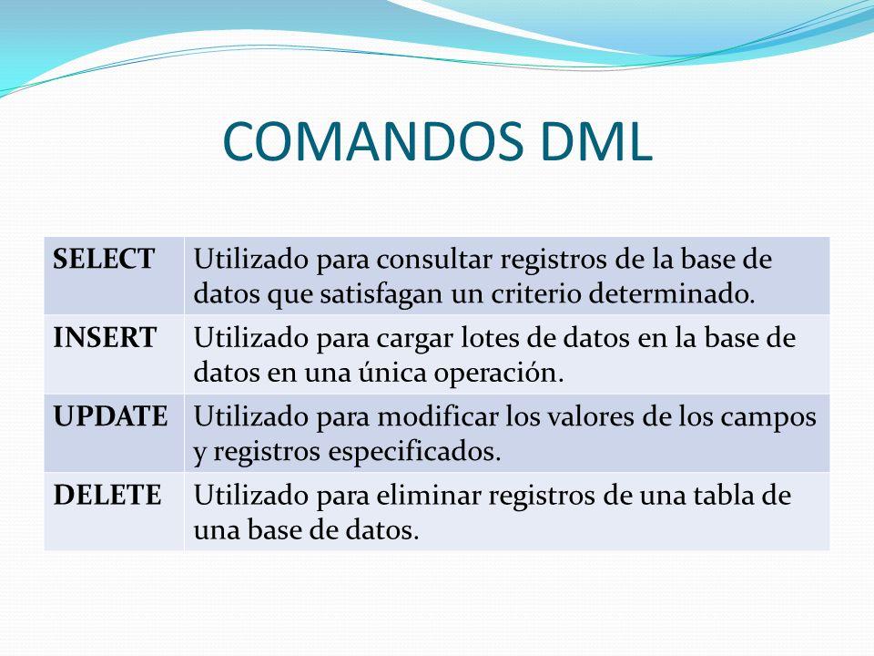 COMANDOS DML SELECTUtilizado para consultar registros de la base de datos que satisfagan un criterio determinado. INSERTUtilizado para cargar lotes de