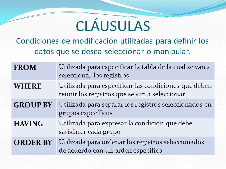 CLÁUSULAS FROM Utilizada para especificar la tabla de la cual se van a seleccionar los registros WHERE Utilizada para especificar las condiciones que