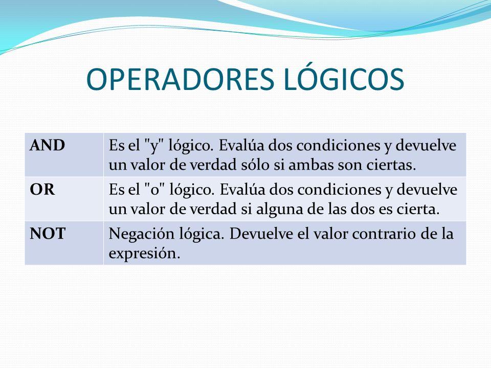 OPERADORES LÓGICOS ANDEs el