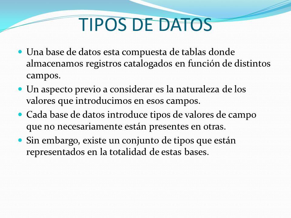 TIPOS DE DATOS Una base de datos esta compuesta de tablas donde almacenamos registros catalogados en función de distintos campos. Un aspecto previo a