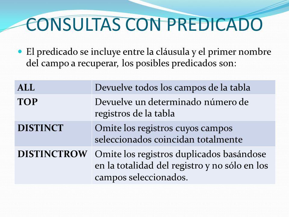 CONSULTAS CON PREDICADO El predicado se incluye entre la cláusula y el primer nombre del campo a recuperar, los posibles predicados son: ALLDevuelve t