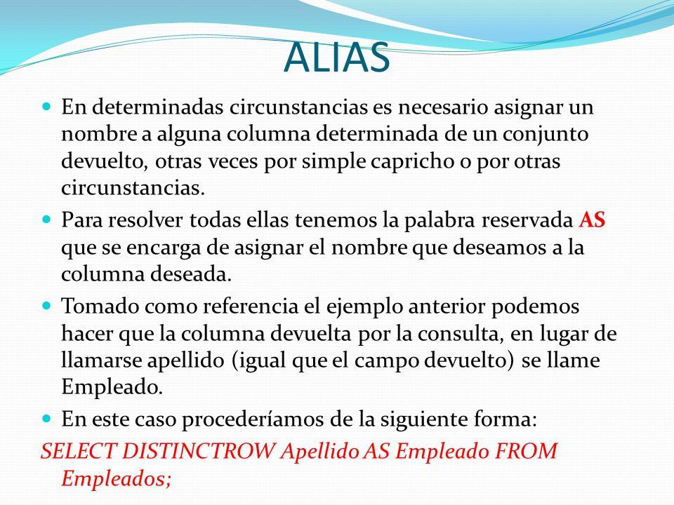 ALIAS En determinadas circunstancias es necesario asignar un nombre a alguna columna determinada de un conjunto devuelto, otras veces por simple capri
