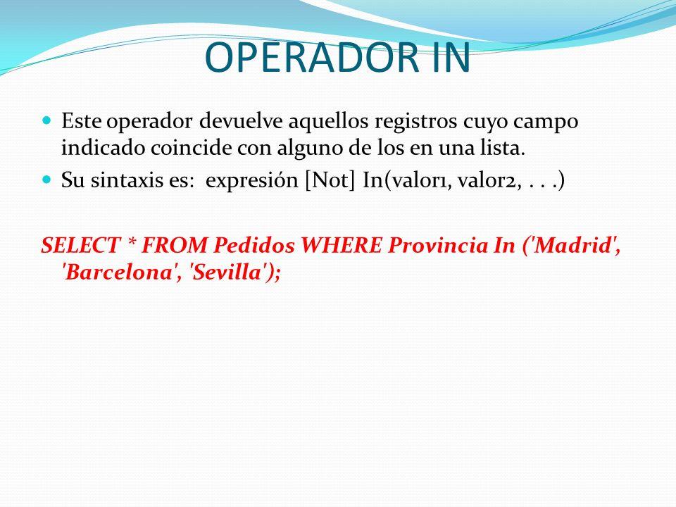 OPERADOR IN Este operador devuelve aquellos registros cuyo campo indicado coincide con alguno de los en una lista. Su sintaxis es: expresión [Not] In(
