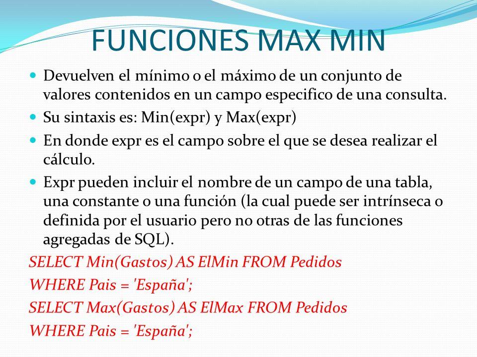FUNCIONES MAX MIN Devuelven el mínimo o el máximo de un conjunto de valores contenidos en un campo especifico de una consulta. Su sintaxis es: Min(exp