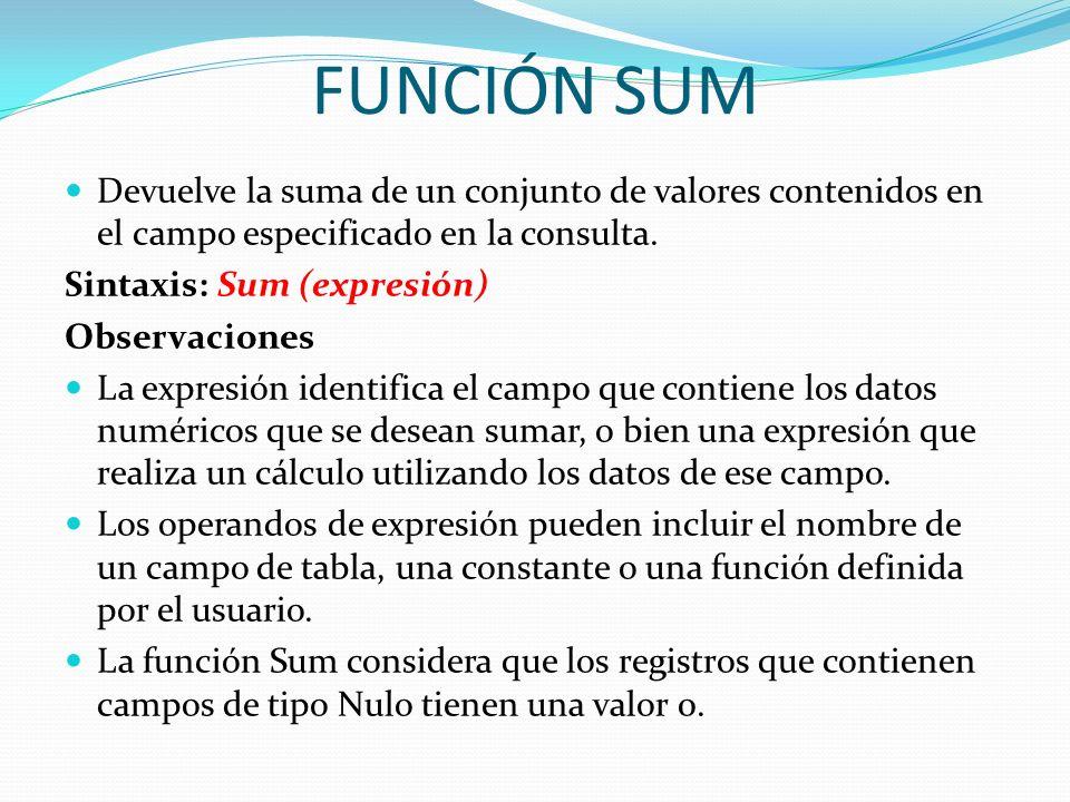 FUNCIÓN SUM Devuelve la suma de un conjunto de valores contenidos en el campo especificado en la consulta. Sintaxis: Sum (expresión) Observaciones La