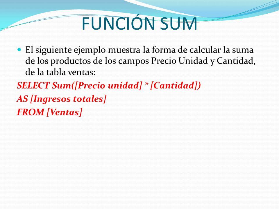 FUNCIÓN SUM El siguiente ejemplo muestra la forma de calcular la suma de los productos de los campos Precio Unidad y Cantidad, de la tabla ventas: SEL