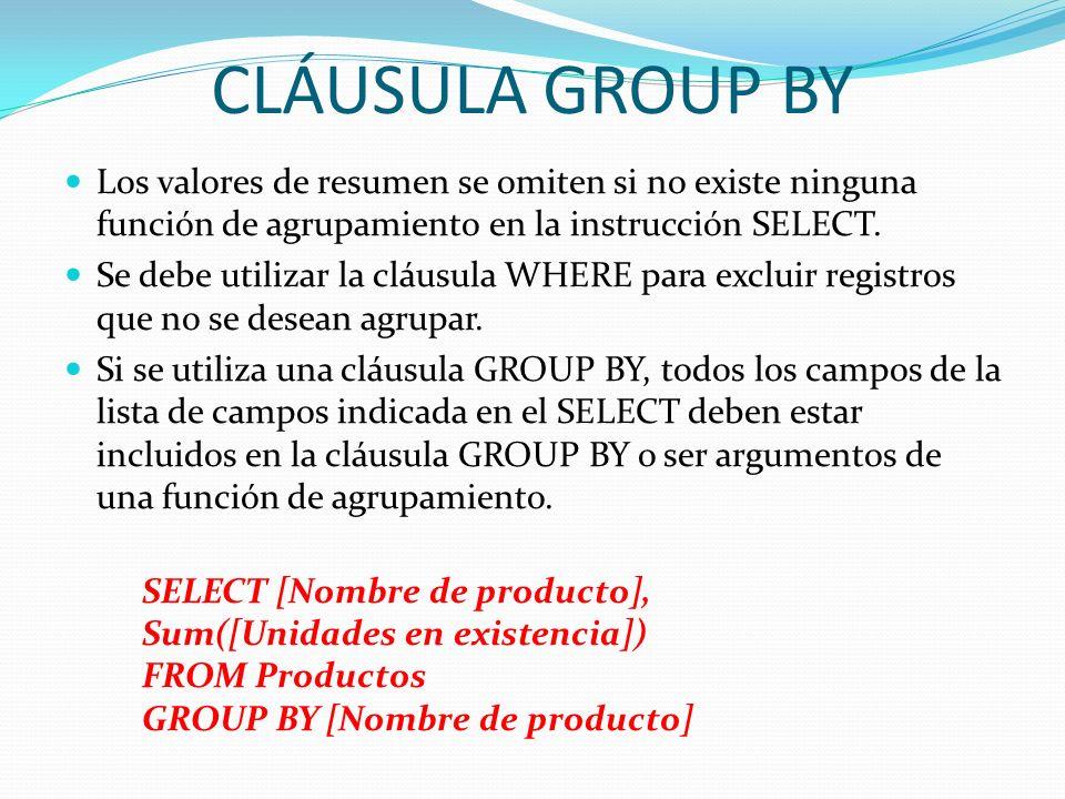 CLÁUSULA GROUP BY Los valores de resumen se omiten si no existe ninguna función de agrupamiento en la instrucción SELECT. Se debe utilizar la cláusula