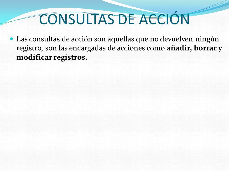 CONSULTAS DE ACCIÓN Las consultas de acción son aquellas que no devuelven ningún registro, son las encargadas de acciones como añadir, borrar y modifi