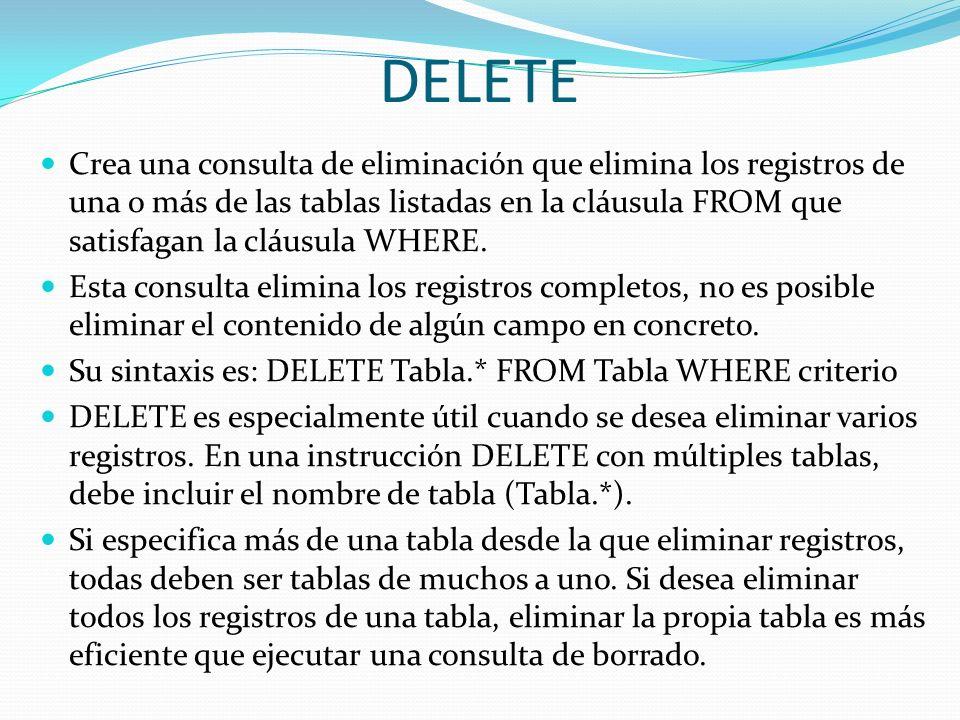 DELETE Crea una consulta de eliminación que elimina los registros de una o más de las tablas listadas en la cláusula FROM que satisfagan la cláusula W