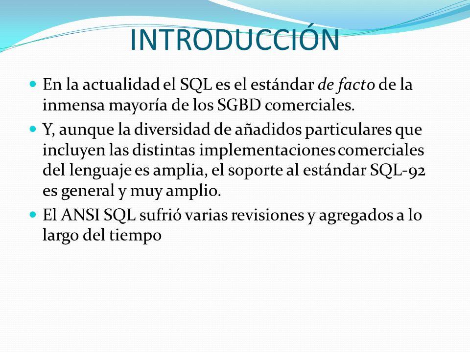 INTRODUCCIÓN En la actualidad el SQL es el estándar de facto de la inmensa mayoría de los SGBD comerciales. Y, aunque la diversidad de añadidos partic