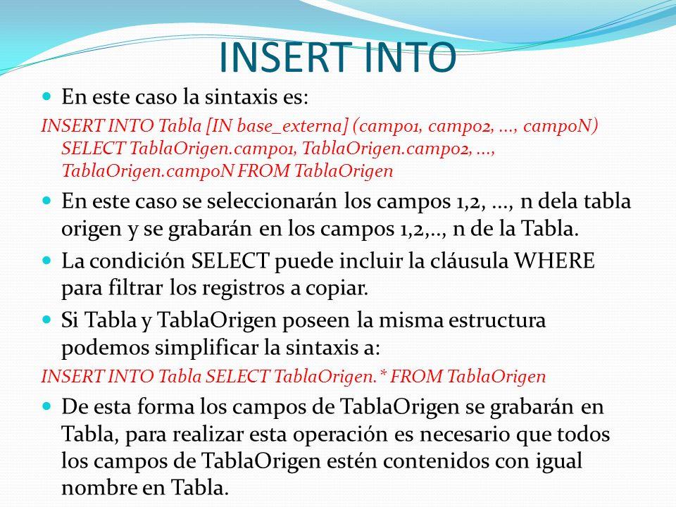 INSERT INTO En este caso la sintaxis es: INSERT INTO Tabla [IN base_externa] (campo1, campo2,..., campoN) SELECT TablaOrigen.campo1, TablaOrigen.campo