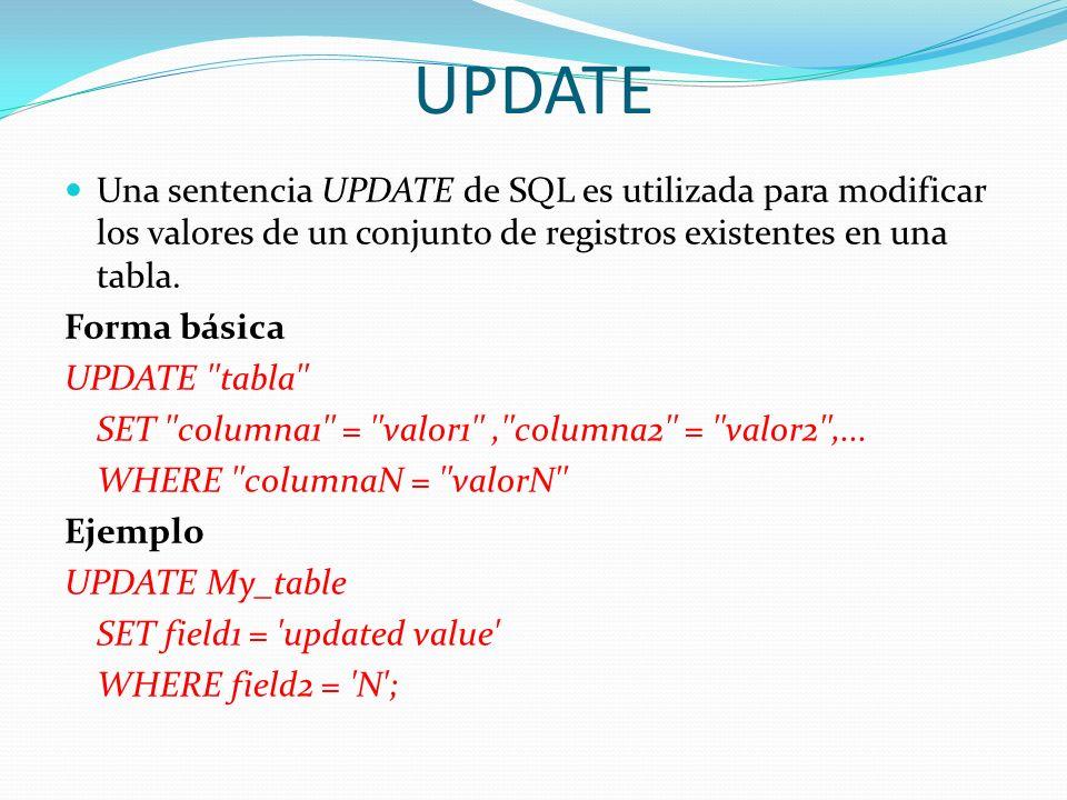 UPDATE Una sentencia UPDATE de SQL es utilizada para modificar los valores de un conjunto de registros existentes en una tabla. Forma básica UPDATE ''