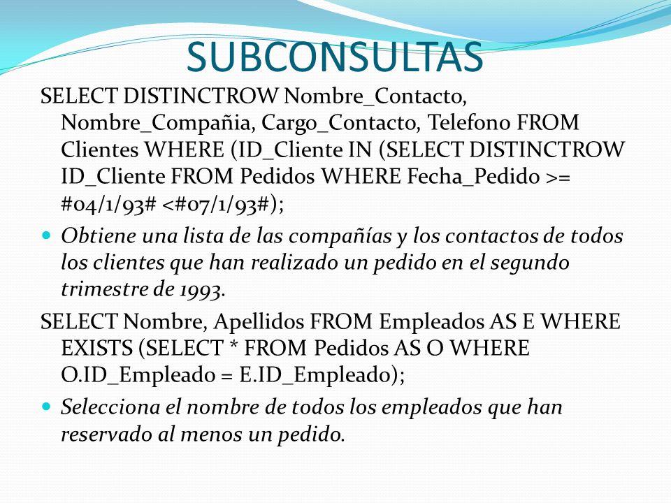SUBCONSULTAS SELECT DISTINCTROW Nombre_Contacto, Nombre_Compañia, Cargo_Contacto, Telefono FROM Clientes WHERE (ID_Cliente IN (SELECT DISTINCTROW ID_C