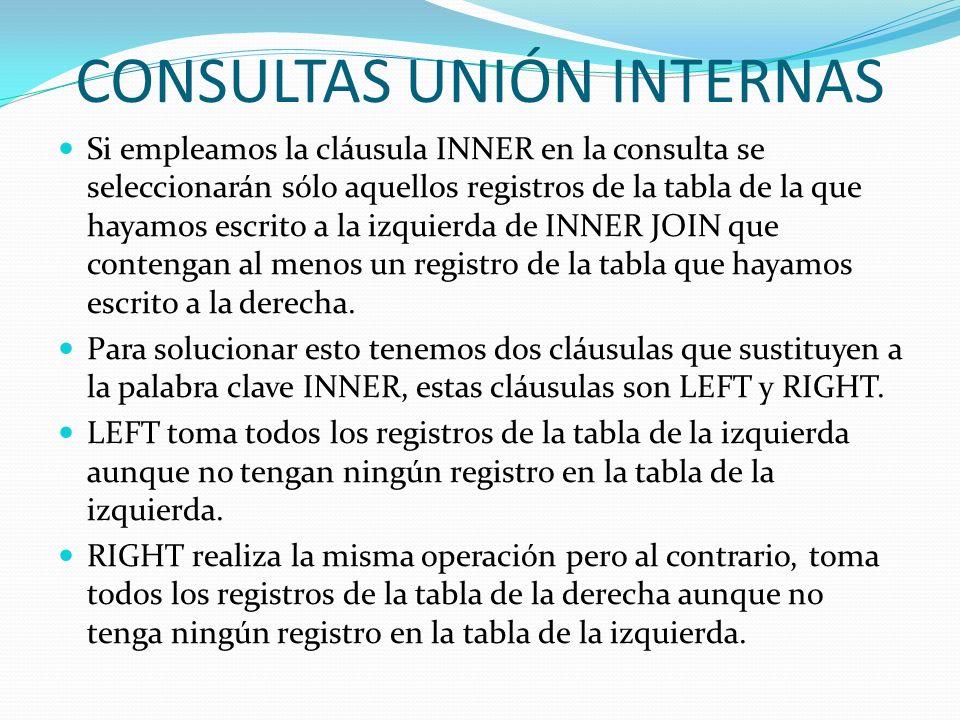 CONSULTAS UNIÓN INTERNAS Si empleamos la cláusula INNER en la consulta se seleccionarán sólo aquellos registros de la tabla de la que hayamos escrito