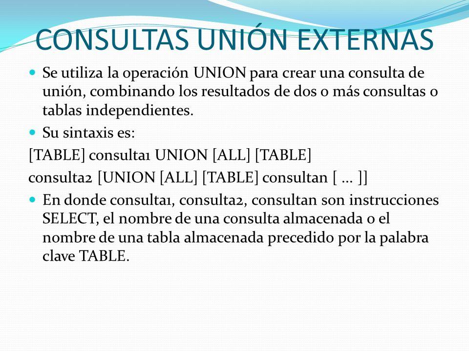 CONSULTAS UNIÓN EXTERNAS Se utiliza la operación UNION para crear una consulta de unión, combinando los resultados de dos o más consultas o tablas ind