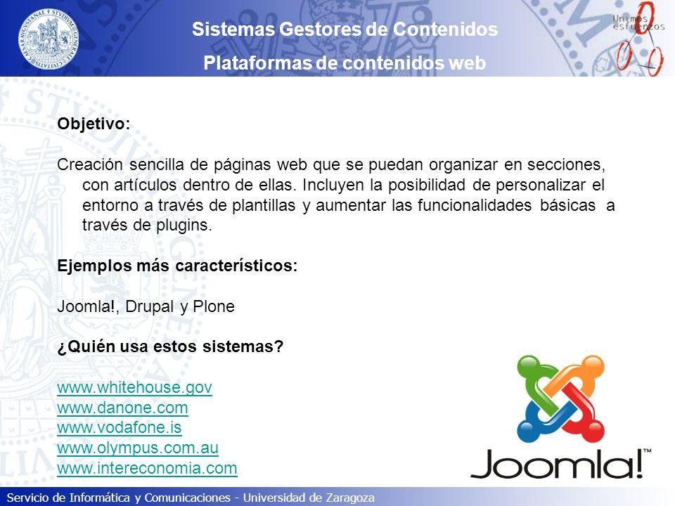 Servicio de Informática y Comunicaciones - Universidad de Zaragoza Sistemas Gestores de Contenidos Paso #02: Activación de la cuenta