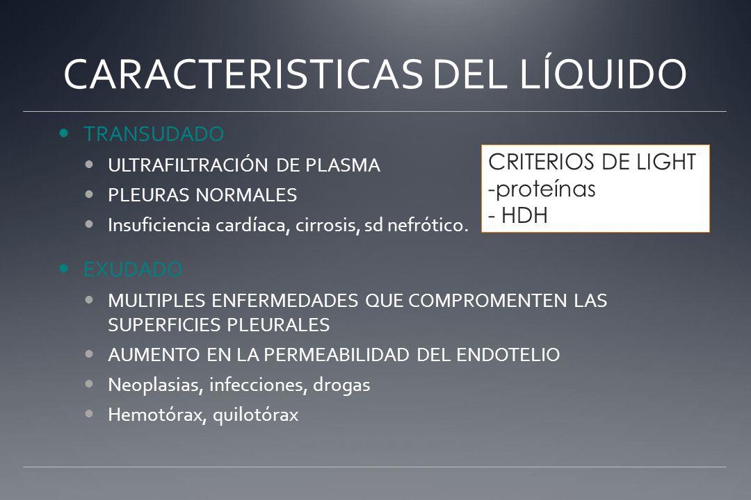 CARACTERISTICAS DEL LÍQUIDO TRANSUDADO ULTRAFILTRACIÓN DE PLASMA PLEURAS NORMALES Insuficiencia cardíaca, cirrosis, sd nefrótico. EXUDADO MULTIPLES EN
