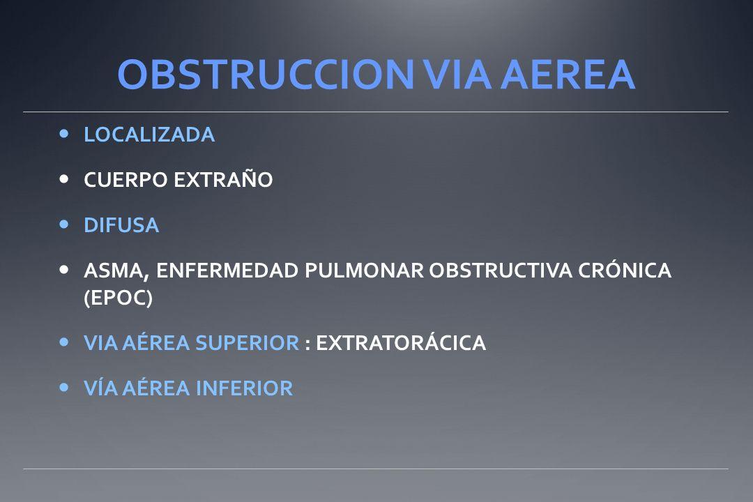 OBSTRUCCION VIA AEREA LOCALIZADA CUERPO EXTRAÑO DIFUSA ASMA, ENFERMEDAD PULMONAR OBSTRUCTIVA CRÓNICA (EPOC) VIA AÉREA SUPERIOR : EXTRATORÁCICA VÍA AÉREA INFERIOR