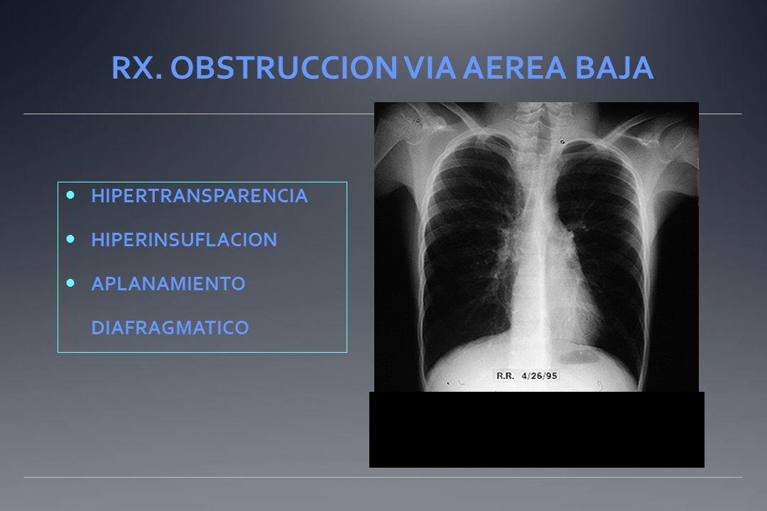 RX. OBSTRUCCION VIA AEREA BAJA HIPERTRANSPARENCIA HIPERINSUFLACION APLANAMIENTO DIAFRAGMATICO..